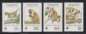 St. Kitts Sc 189-192 MNH. 1986 WWF issue cplt, depicts Monkeys, VF