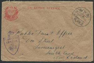 NEW ZEALAND FORCES IN EGYPT 1944 OAS, YMCA censor cover to NZ..............41569