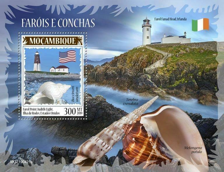 Z08 IMPERF MOZ190421b MOZAMBIQUE 2019 Lighthouses and shells MNH ** Postfrisch