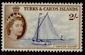 TURKS & CAICOS ISLANDS QEII SG248, 2s deep ultramarine & brown NH MINT. Cat £16.