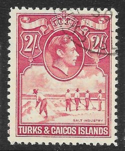 TURKS & CAICOS ISLANDS SG203 1938 2/= DEEP ROSE-CARMINE USED