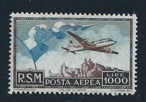 1951 San Marino Mail Aerea N° 99 Big Flag MNH Centratissimo Cert De Simoni