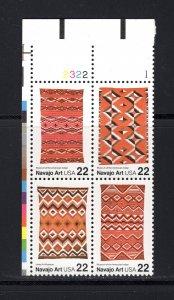 US #2228a,  Plate # Block, VF, MNH, Navajo Art, CV $4.25 ...... 6784438