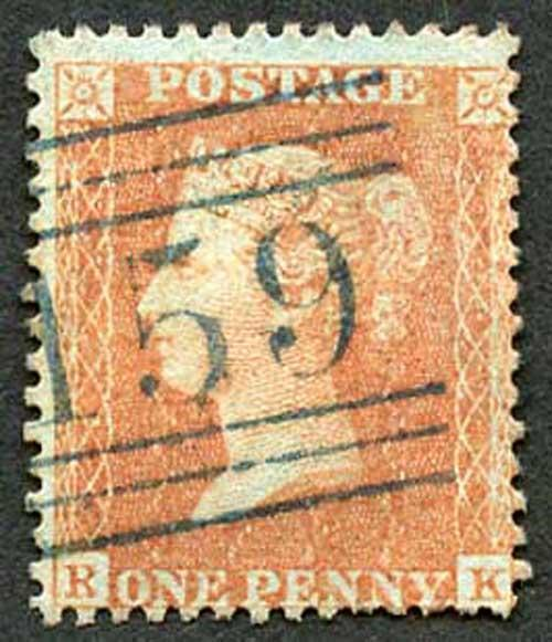 SG33 Penny Orange-Brown (RK) wmk LC perf 14 Very Fine BLUE CANCEL