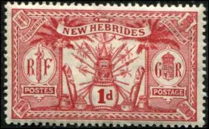British New Hebrides SC# 18 Native Idols 1d MVLH