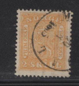 NORWAY  6  USED  1863 ISSUE