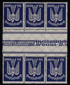 Germany Scott # C19, 3 gutter pairs, mint nh, se-tenant, Mi# 267ZS