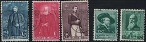 Belgium SC216-220 PaintingsOf Leopold I&!!-PeterPaulRubens etc M&H 1930