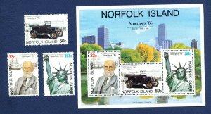 NORFOLK ISLAND - 382-384a  - VF MNH - Bicentennial, Ameripex 86