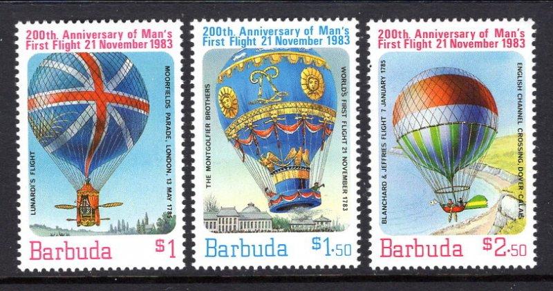 Barbuda MNH 578-80 1st Manned Balloon Flight 1983 SCV 2.50