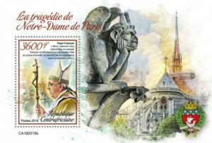 Central Africa - 2019 Notre-Dame & World Leaders - Souvenir Sheet - CA190315b