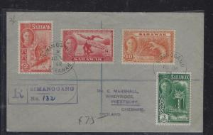 SARAWAK POSTAL HISTORY (PP1509B)1952 KGVI 4 VALUES REG COVER FROM SIMANGGANG