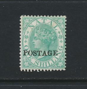 NATAL SOUTH AFRICA 1876, 1sh GREEN, VF MLH SG#84 CAT£140 $180 (SEE BELOW