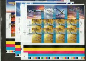 Israel 2013 Aviation Anniversary Complete Imperforate Sheetlets MNH!!