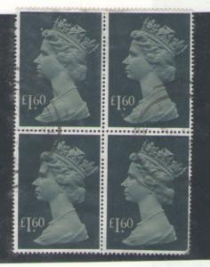 Great Britain Sc MH174 1987 £1.6 QE II Machin block of 4 used