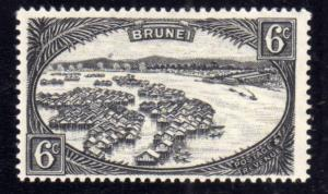 BRUNEI 1924 DWELLINGS IN TOWN ABITAZIONI IN CITTÀ CENT. 6c BLACK  MNH
