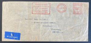 1942 Jerusalem Palestine Meter Cancel Barclays  Cover To Pretoria South Africa