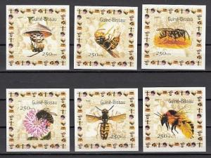 Guinea Bissau, Mi cat. 1510-1515 A. Honey Bees issue as Small s/sheets. ^