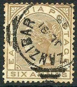 Zanzibar SGZ60 6a Pale Brown Z5 Squared Circle dated 31st July 1888