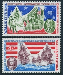 Wallis & Futuna 187-88,MNH.Mi 275-276. US-200,1976. Washington, Lafayette, Ship.