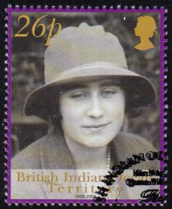 BIOT 2001 used Sc #245 26p Wearing hat (sepia) Queen Mother