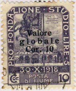 FIUME 1920 Mi.85.II (Martinas 109) 10C/10C Dark Violet Valore Glob. T.I O/P VFU