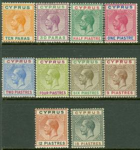 EDW1949SELL : CYPRUS 1912 Scott #61-70 Very Fine, Mint OGH. All Fresh. Cat $136.
