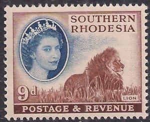 Southern Rhodesia 1953 QE2 9d Lion Umm SG 85 ( D1115 )
