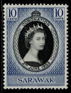 SARAWAK QEII SG187, 10c 1953 CORONATION, M MINT.