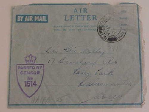 PALESTINE  FPO 731 AIR LETTER MAY 1945 TO ENGLAND CENSORED