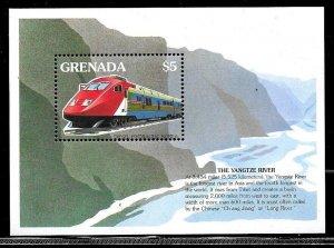 #8162 GRENADA 1995 TRAINS HYDRALIC DIESEL KOREA S/S YV BL 388 MNH