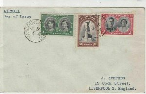 Canada 1939 Airmail Vancouver Cancel FDC Three Stamps Cover ref 22031