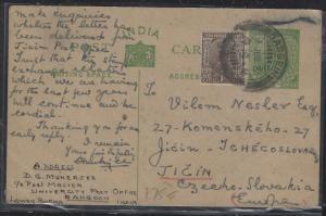 BURMA (P2810B) INDIA USED IN FORERUNNER PSC 1931 BASSEIN TO CZECHOSLOVAKIA