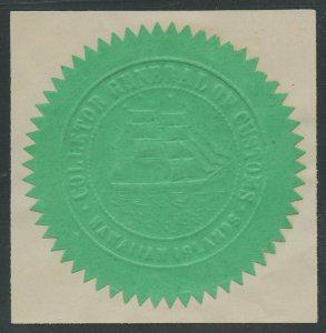 HAWAII GREEN EMBOSSED CUSTOMS HOUSE SEAL FULL RIGGED SAILING SHIP RARE WLM9152