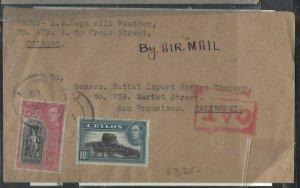 CEYLON (P0908B) 1945 KGVI 2R+10C OAT A/M COVER TO USA