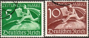Stamp Germany Mi 738-9Z Sc P1-2 1939 WWII Foreign Newspaper Me enger Globe Used