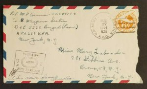 1944 India US APO 628 NY City Army Postal Service WWII Censorship Air Mail Cover