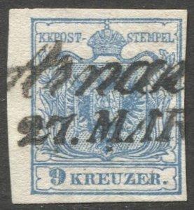 AUSTRIA 1850 9 Kr, Type III, ARNAU Czechia script cancel, Sc 5, VF