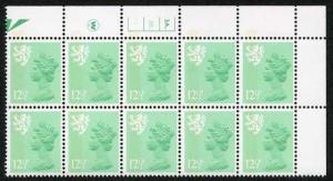S-JFP12.5A 12.5p Light Emerald Scotland Waddington LB FCP/PVA 3A/3B Dot U/M