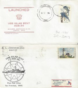 US Naval Cover USS Silas Bent AGS26/T-AGS26  1964 Launch, 1970