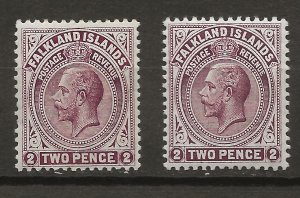 Falkland Is 32, 32c SG 62, 62c MLH VF 1912-19 SCV $36.50 (jr)