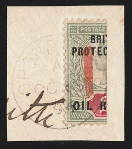 NIGER COAST : 1894 Opobo River Bisect Provisional '1' on 2d. Rare, 360 printed.
