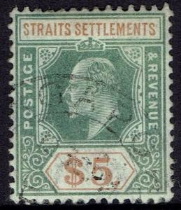 STRAITS SETTLEMENTS 1902 KEVII $5 WMK CROWN CA USED