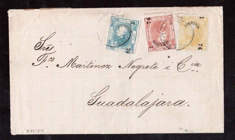 Mexico #90 #88 - #89 Very Fine Used On Cover To Guadalajara **With Certificate**