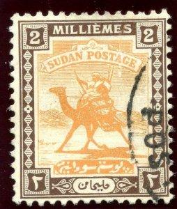 Sudan 1922 KGV 2m yellow-orange & chocolate very fine used. SG 31. Sc 30.