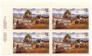 Canada - 1972 $2 Quebec Pl. Block w. Variety mint #601ii