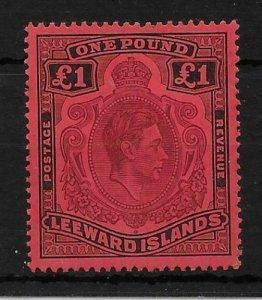 LEEWARD ISLANDS SG114 1938 £1 BROWN-PURPLE & BLACK ON RED p14 MTD MINT