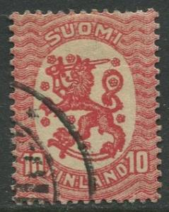 Finland - Scott 85 - Arms of Republic -1917- Used - Single 10p Stamp