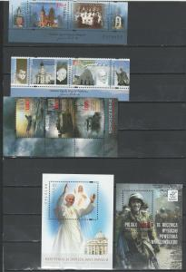 Poland mint mini sheets and FDC's