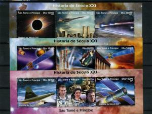 Sao Tome & Principe 2004 SPACE Shenzhou Eclipse (3) Compound Perforated MintNH